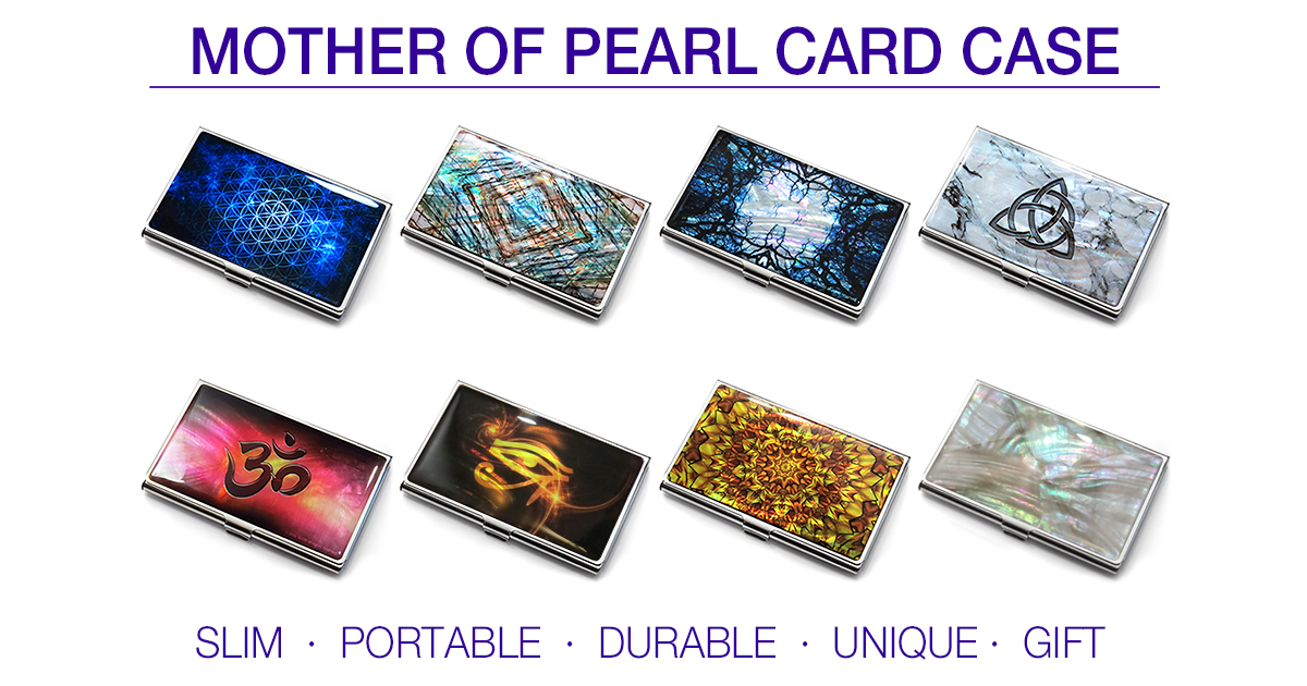 Mother of pearl business card cases ID holders - Mother of Pearl Store